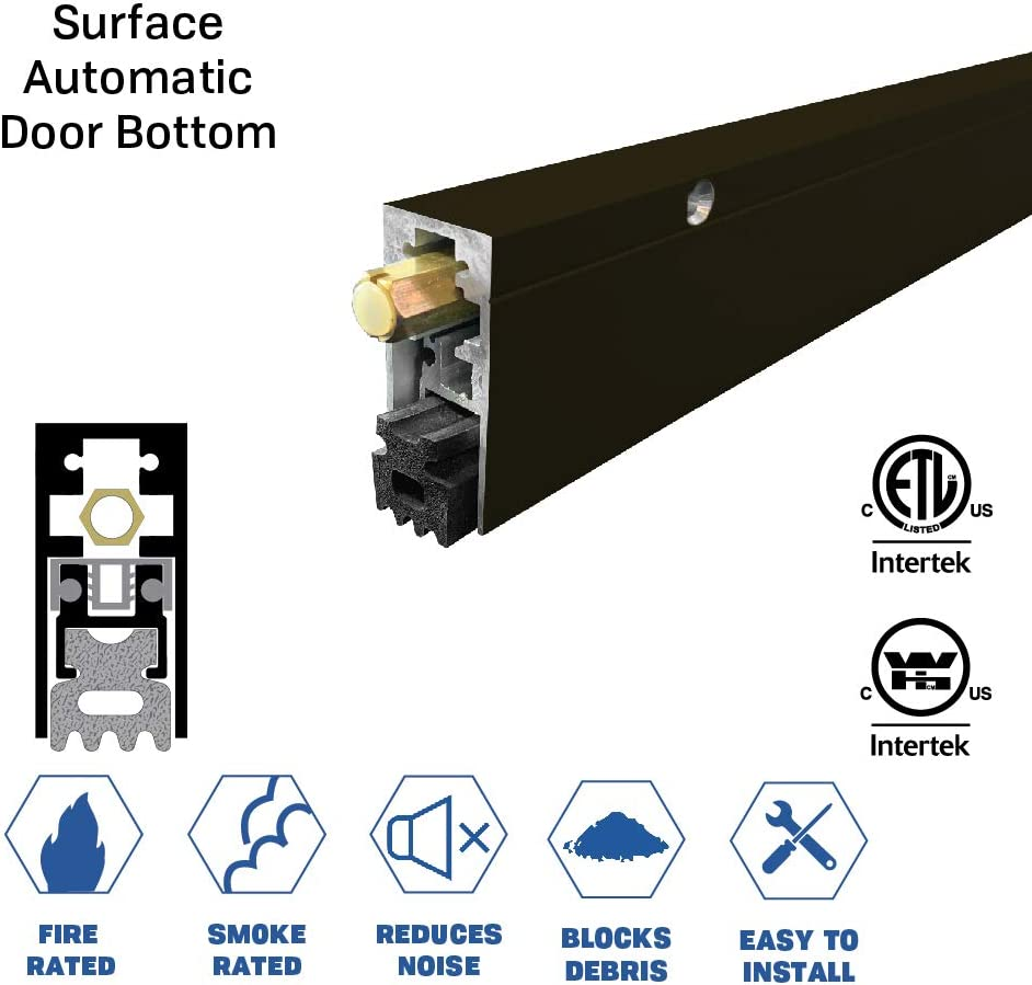 30 L x 29//32 W x 1-29//32 H 7163CA SMS #8 x 1-1//2 Supplied, Fire Rated//Heavy Duty//Surface Automatic Door Bottom with Sponge Neoprene Rubber Extrusion in Clear Anodized Aluminum