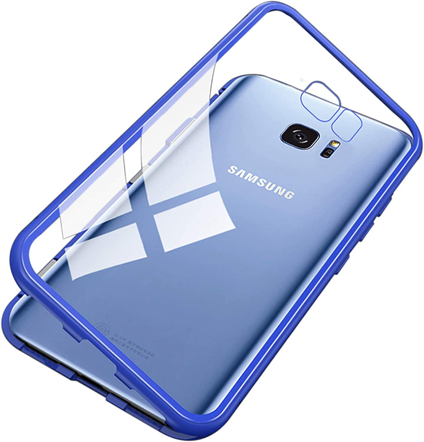 UNIYA Galaxy S7 Edge Magnetic Case, Tempered Glass Magnetic Metal Frame Aluminum Alloy Protective Case