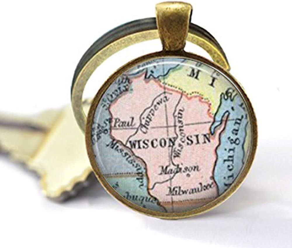 asd Wisconsin State Map, Vintage Map Keychain