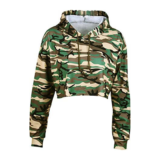 9d3c89f5e76fec Image Unavailable. Image not available for. Color: iShine Women's Camouflage  Crop Top Hoodie Sweatshirt Loose Striped Long Sleeve Sexy Pullover ...