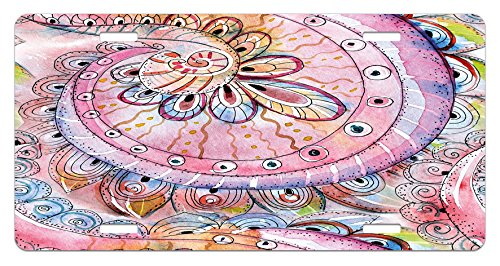 (Ambesonne Eastern License Plate, Arabesque Traditional Ethnic Floral Pattern Colored with Watercolor Effects Art, High Gloss Aluminum Novelty Plate, 5.88 L X 11.88 W Inches, Multicolor)