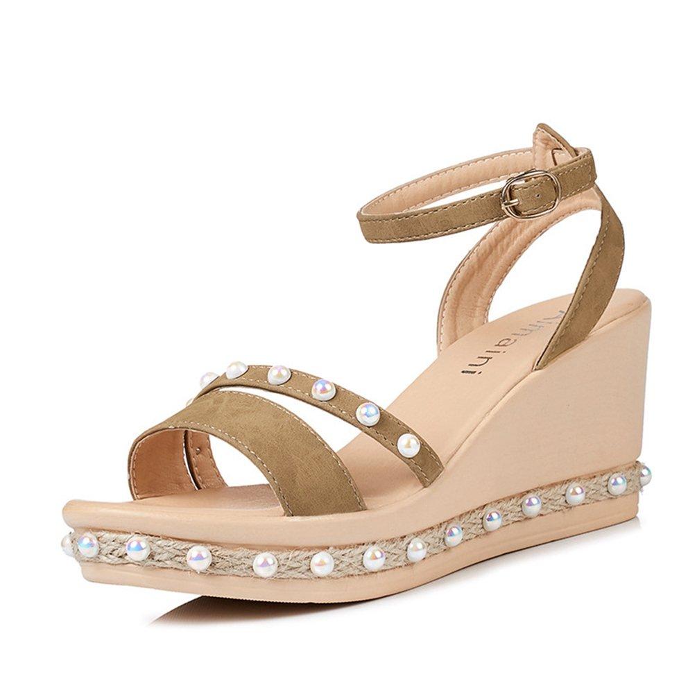 932294c8b803a Sandales Compensés Femmes Talons Hauts Chaussures Perlées OL Élégant  Plateforme Corde Sandale  Amazon.fr  Chaussures et Sacs