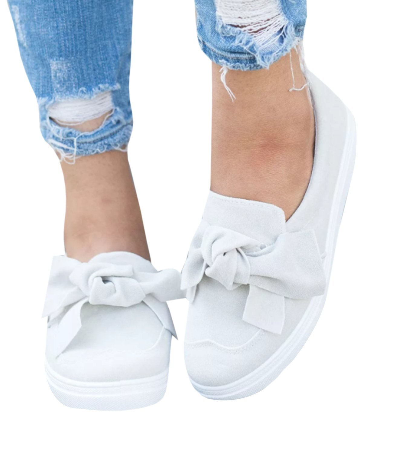 Pxmoda Womens Slip On Ruffle Bow Knot Espadrille Sneakers Fashion Summer Slide Shoes (US 10, White)
