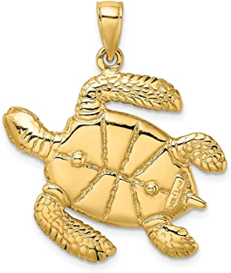 FB Jewels 14K White and Yellow Two Tone Gold Sea Turtle Cut Out High Polish Pendant