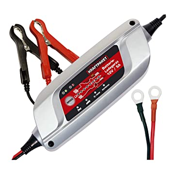 Dino Power Pack Cargador de batería 2V-5A para batería de automóviles, moto oldtimer starter, batería plomo-ácido AGM GEL , 8 etapas