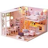 مجموعة اللعب منزل الدمى المُصغّر ثلاثي الأبعاد ويدوي التصميم بمظهر واقعي من الخشب ولون زهري، غرفة الدمى بأثاث وأضواء ال اي دي ملائمة كهدية كريسماس