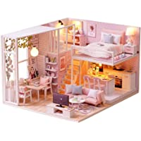 DIY Miniature Loft Dollhouse Kit Realistic Mini 3D Pink Wooden House Room Toy with Furniture LED Lights Christmas…