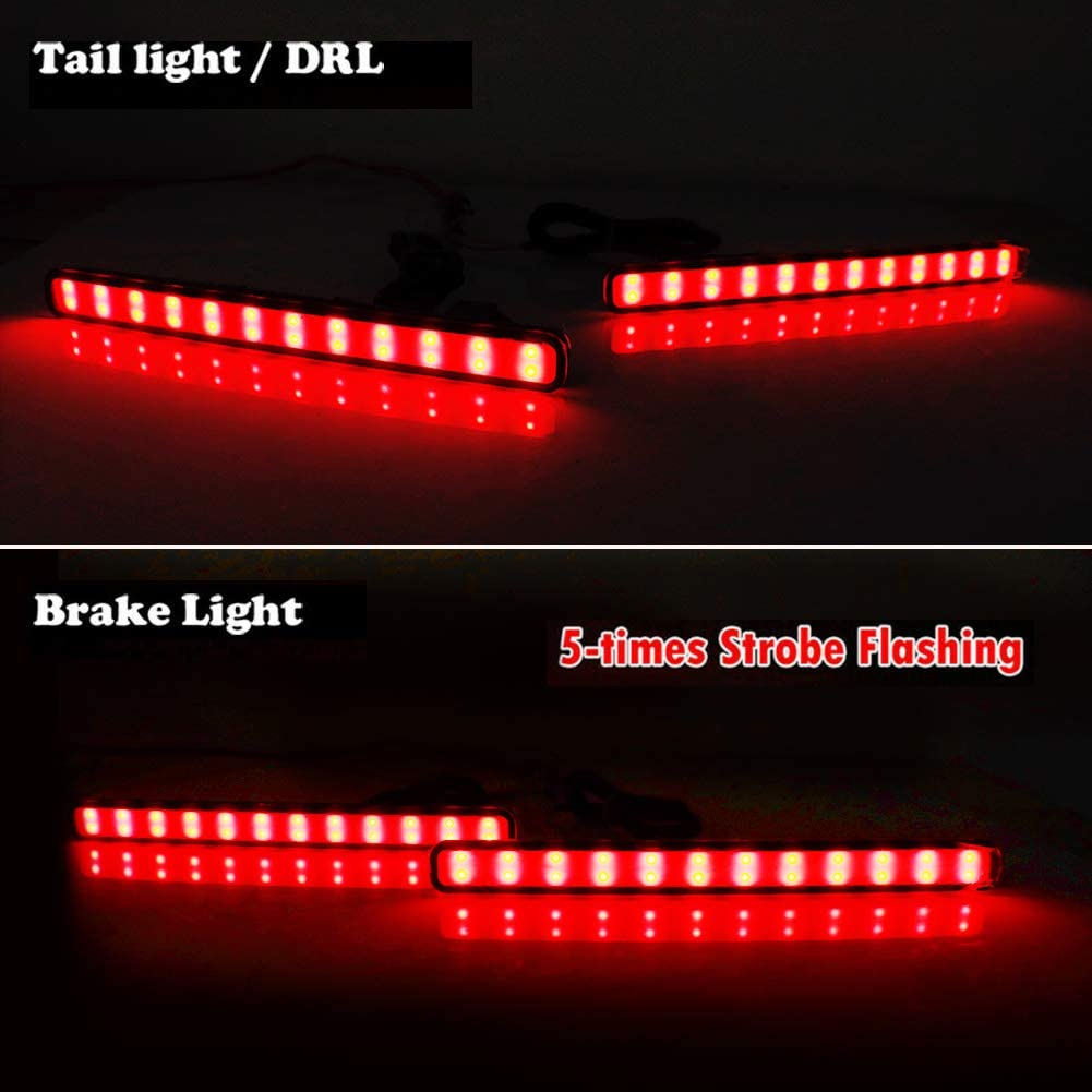 Adiil Red Lens Led Rear Bumper Reflector Tail Fog Light Compatible with 2009-2014 Acura TSX Euro Accord