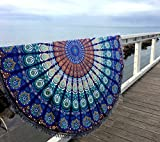 Aakriti Gallery Indian Peacock Mandala Round Roundie with frill Beach Throw Cotton Beach Towel, Round Yoga Mat with frill Beach Round Shawl, 72' Beach Leisure, Picnic Mat (White) (Turquoise)
