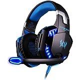 Cuffie PC Gaming Microfono ArkarTech® Cuffia da Gioco Gamer Stereo LED Luce Regolatore di Volume per PC iPhone Smart Phone Laptop tablet iPad iPod MP3 MP4 Mobilephones