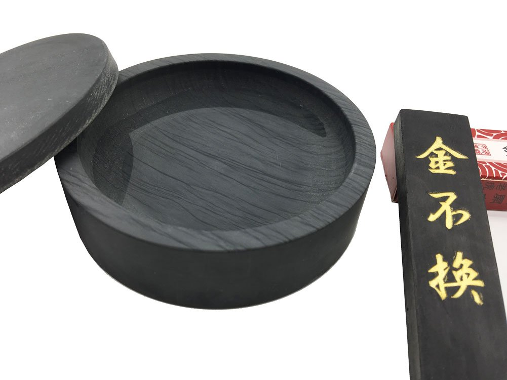 Easyou Ink Stone for Chinese Calligraphy Natural Stone Wavy with Cover 4''+ ink stick 1pcs