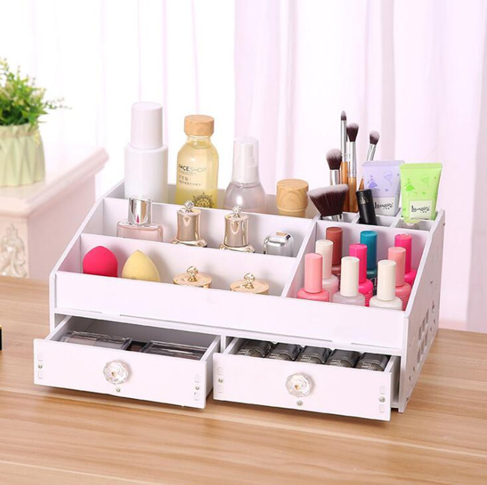KIMSAI Bathroom Rack Desktop Cosmetics PVC Wood Plastic Board Storage Box Household Drawer Type Skin Care Storage Rack Multifunction Hotel Bathroom Rack Large