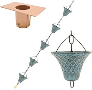 Bell 8.5FT Antique Sky Blue Rain Chains for Drain Gutter Through Downspouts and Rain Barrel with Rain Chain Gutter Adapter - Outdoor Rust-Resistant Plated Iron Trendy and Thick Black Garden Décor