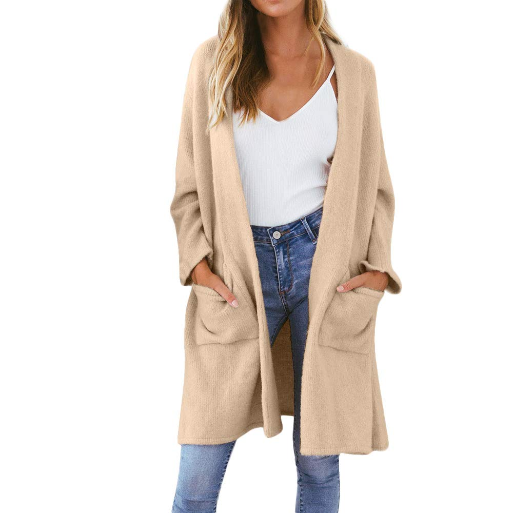 iHENGH Damen Kardigan Top, Ladies Fashion Winter Strickjacke Coat Tops Elegant Dicke Warme Oberbekleidung Outwear Jacke Mantel iHENGH Hemd Nr.1