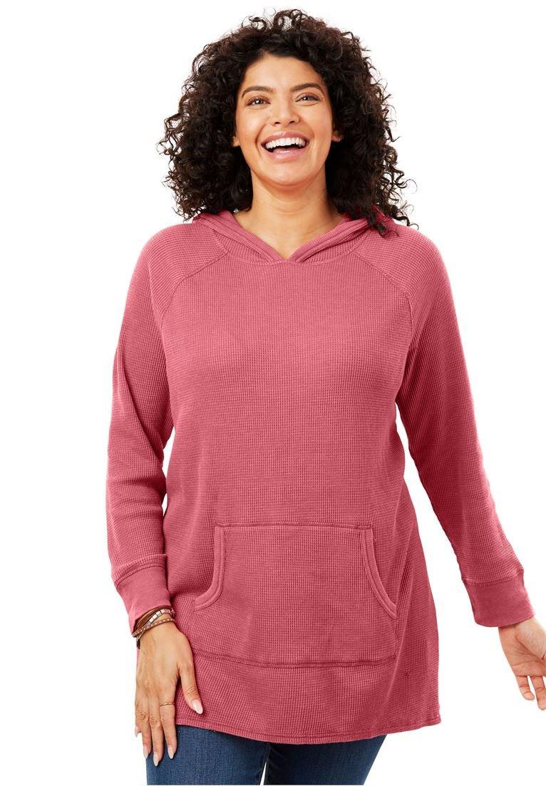 Women's Plus Size Hooded Thermal Sweatshirt Rose Bloom,38/40