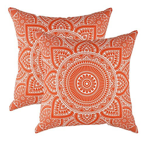 TreeWool 2 Pack Throw Pillow Covers Decorative Mandala Accent Decorative Pillowcases Toss Pillow Cushion Shams Slips Covers for Sofa Couch (20 x 20 Inches/50 x 50 cm; Orange)