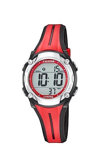 Calypso - Reloj Digital Unisex con LCD Pantalla Digital Dial y Correa de plástico de Color Rojo, K5682/2: Amazon.es: Relojes