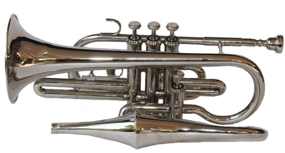 Bb Flat Silver Nickel Echo Conret With Free Hard Case+Mouthpiece by SHREYAS (Image #1)