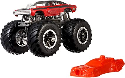 Amazon Com Hot Wheels New 2019 Monster Trucks Giant Wheels Red Dodge Charger R T 1 64 Toys Games