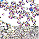 8640 Pieces Nail Crystals AB Nail Art Rhinestones 6 Sizes Beads Flatback Glass Charms Gems Stones for Nails Decoration, Makeup, Festival, Crafts Embellishments (Crystal AB, Mixed SS4 5 6 8 10 12)