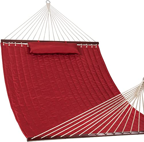 Lazy Daze Hammocks 55 Double Size Quilted Fabric Hammock with Hardwood Spreader Bar and Poly Head Pillow Stylish for Two Person, Red