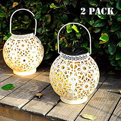 Walensee Solar Lantern Outdoor Garden Hanging Lantern Hanging Solar Lights Outdoor Waterproof LED Table Lamp Decorative Hanging Solar Lantern with Handle for Table, Outdoor, Party, White 2 Pack