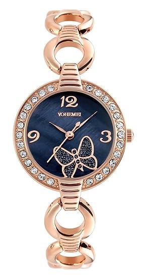 Luxury Casual Sports Bracelet Women Butterfly Crystal Diamond Dial Alloy Waterproof Girls Quartz Watch (Black