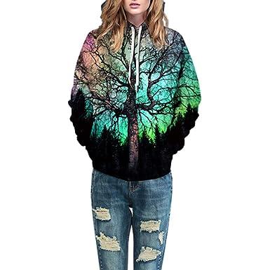 Longra Unisex 3D Druck Hooded Kapuzenpullover Langarm Casual Sweatshirt für  Herren und Damen Oversize Pullover Kapuzenjacke 2557d3494d