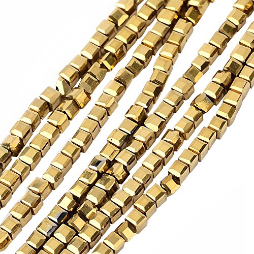 NBEADS 10 Strands Gold Plated Crystal Faceted Cube Glass Beads Strands with 2x2x2mm,Hole:1mm,about 101pcs/strand ()