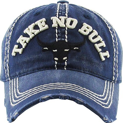 H-212-TNB31 Distressed Vintage Patch Hat - Take No Bull (Navy)