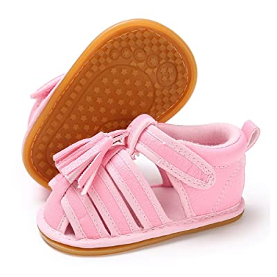 Antheron Baby Girls Boys Closed Toe Sandals Ant-Slip Rubber Sole Tassel Sneakers Toddler Walking Shoes