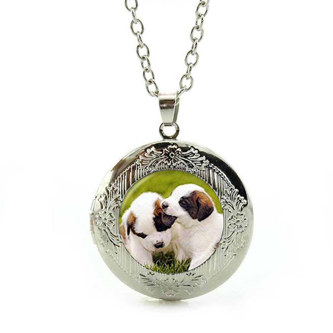 Women's Custom Locket Closure Pendant Necklace Puppy Dog Included Free Silver Chain, Best Gift Set LooPoP KF-LSZBS-1143