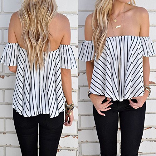 Hylong Summer Womens Ladies Casual Off The Shoulder Tops Tank Lesiure T-Shirt Blouse by Hylong (Image #2)