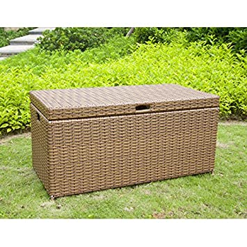 Jeco Wicker Patio Storage Deck Box In Honey