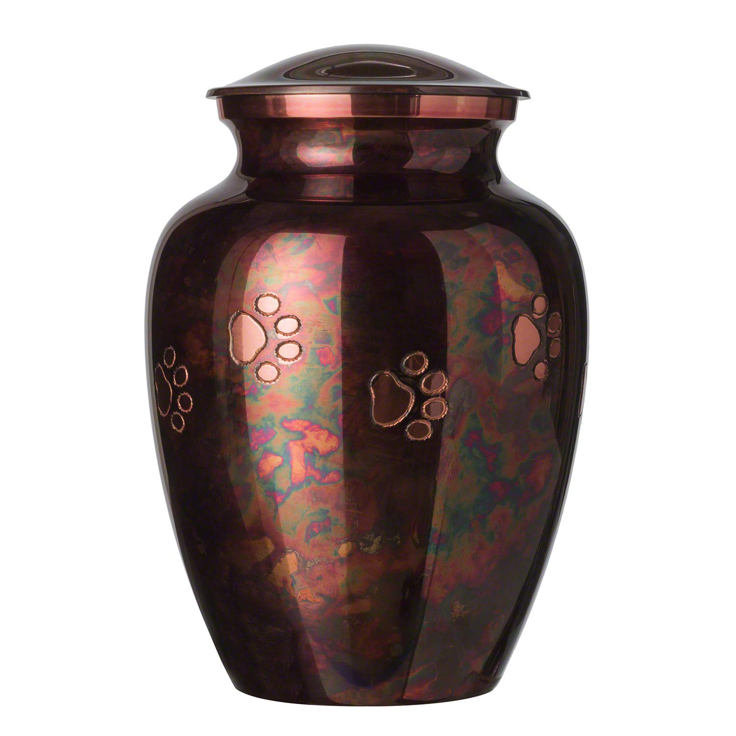 Best Friend Services Ottillie Paws Series Pet Urn Raku Finish with Horizontal Copper Paws (Small)