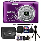 Nikon COOLPIX A10 16.1 MP Digital Camera (Purple) + 16GB Memory Card + Wallet + Reader + Battery and Charger + Camera Case + 3pc Cleaning Kit + Mini Tripod