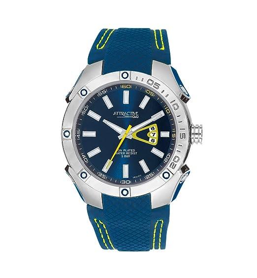 Q&Q DB24J312Y - Reloj para Hombres, Correa de Silicona Color Azul