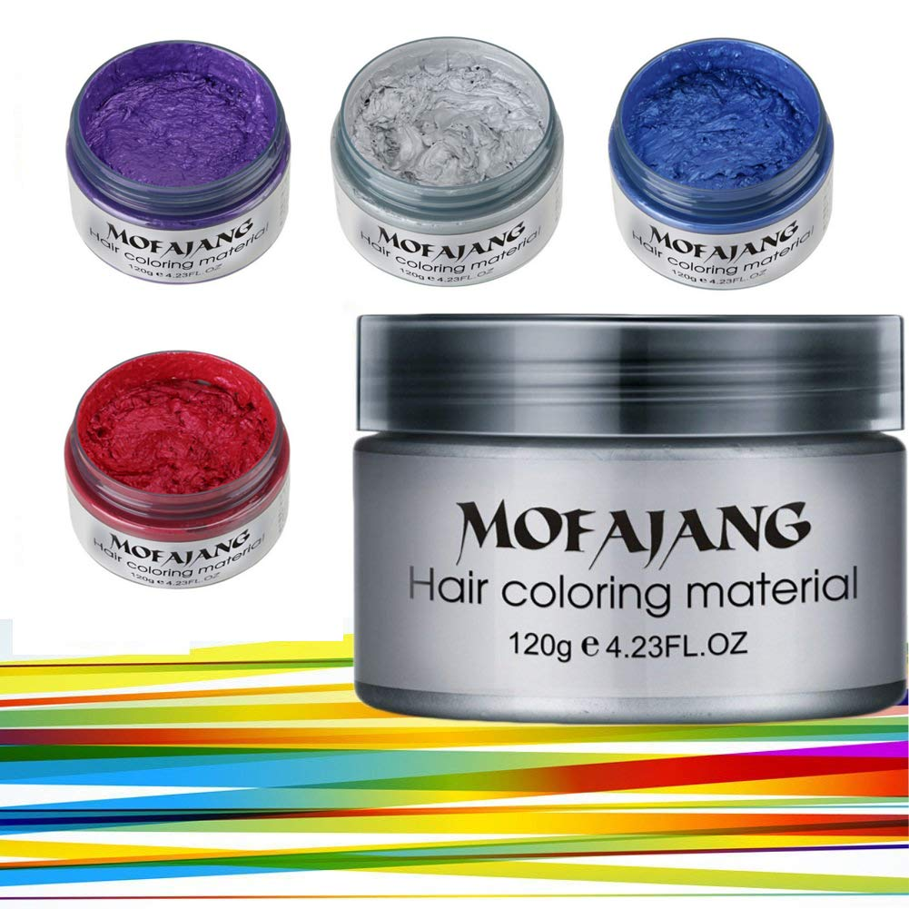Spdoo Unisex Multi-Color Hair Dye Temporary Modeling Fashion DIY Hair Color Wax Mud Hair Dye Cream, Red&Blue&Purple&Grey by Spdoo