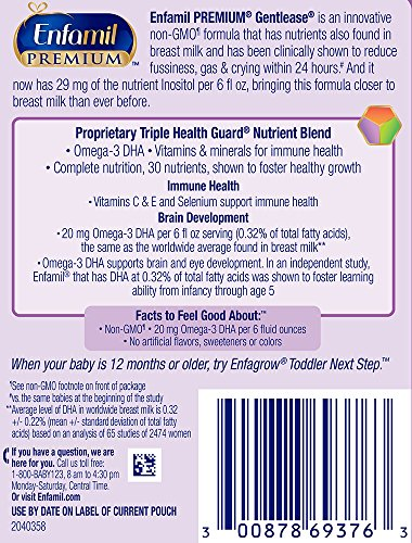 Enfamil PREMIUM Non-GMO Gentlease Infant Formula - Clinically Proven to reduce fussiness, gas, crying in 24 hours - Reusable Powder Tub & Refills, 118.1 oz by Enfamil (Image #12)