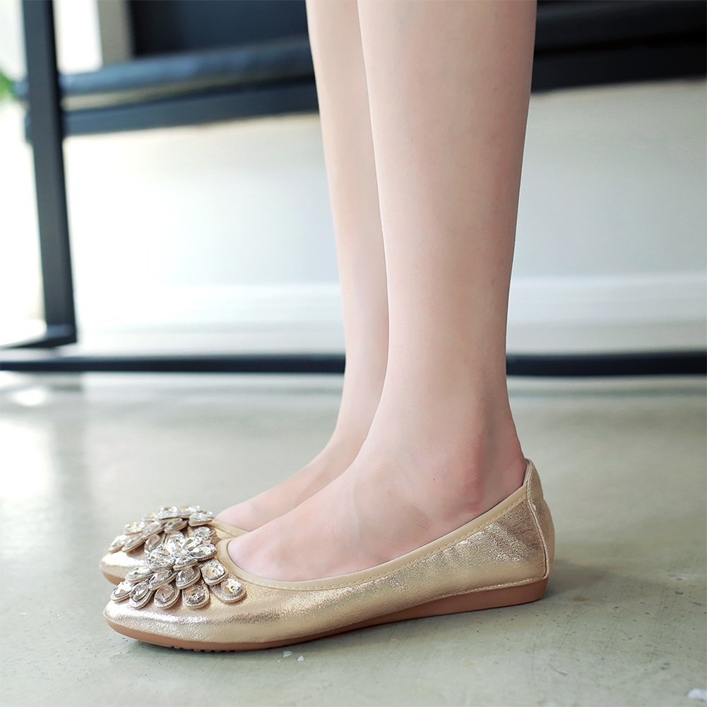 Meeshine Womens Foldable Soft Pointed Toe Ballet Flats Rhinestone Comfort Slip on Flat Shoes(8 B(M) US,Gold 01) by Meeshine (Image #7)