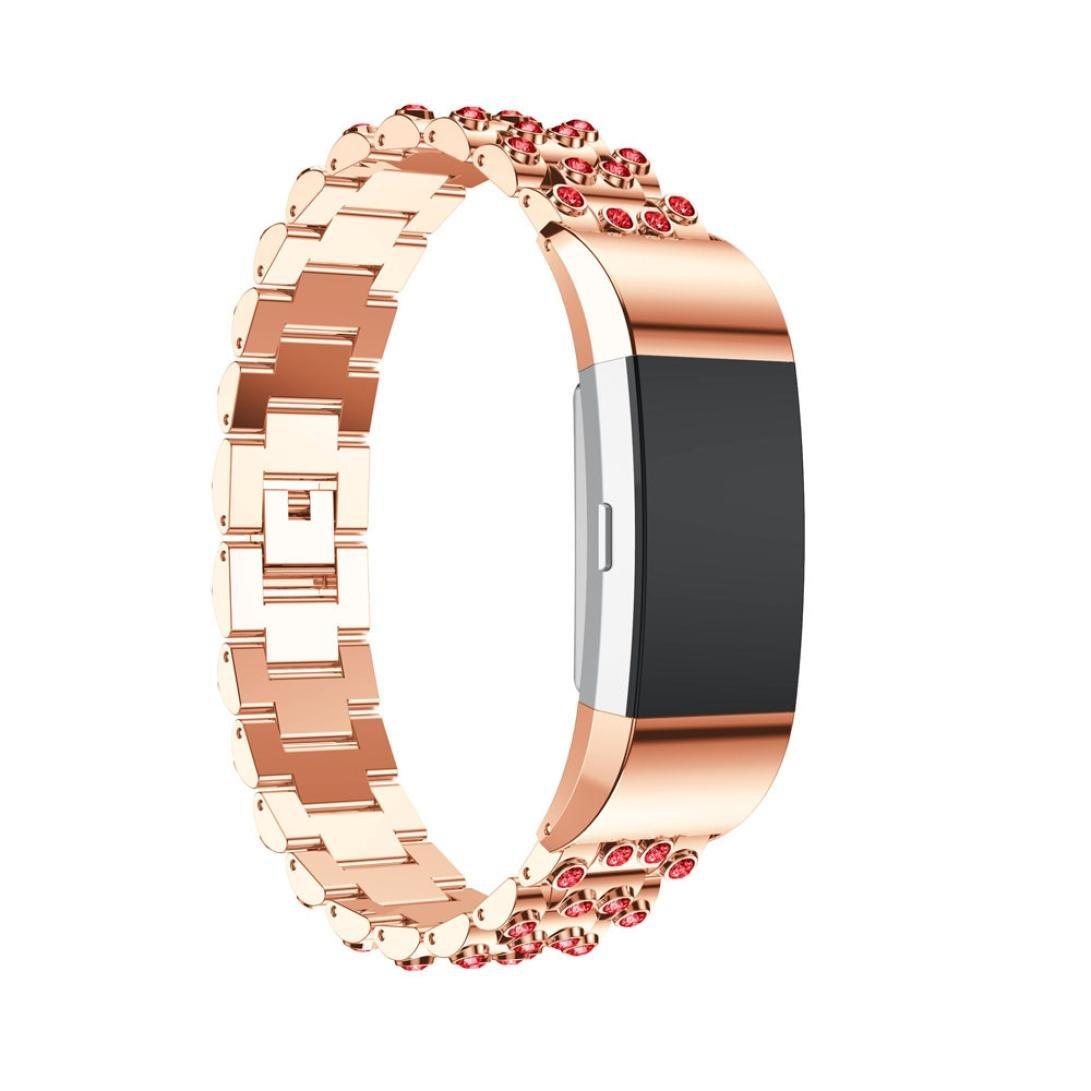 Hefu for Fitbit Charge 2、ファッションステンレススチールWatchブレスレットBand Strap for Fitbit Charge 2 Watch B B B0796S7F6X