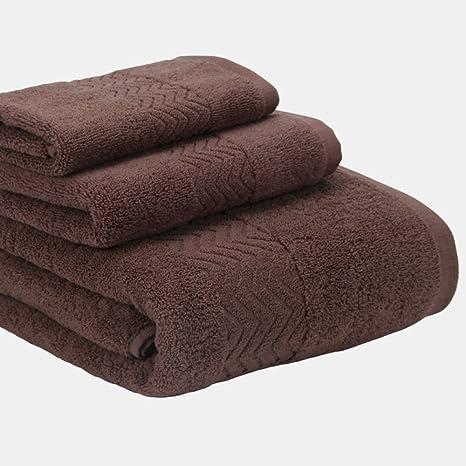 LIFEILONG Toalla de baño de algodón Peinado Liso Jacquard Set de 3 Piezas café teñido ecológico 140x70cm 75x33cm 34x34cm: Amazon.es: Hogar