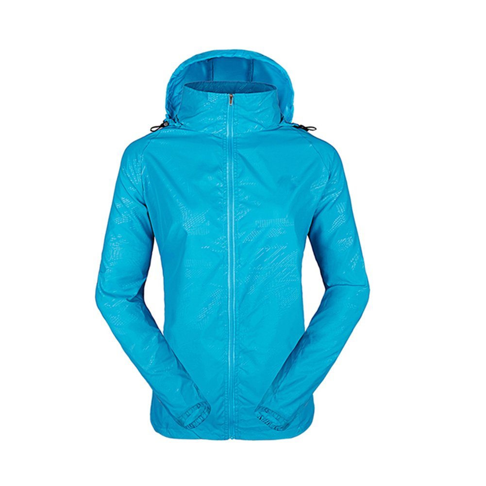 LeoVera Unisex UV Protect Quick-Dry Lightweight Windbreaker Outdoor Hoodie Skin Coat Skin Jackets LVPFY118-Blue-L