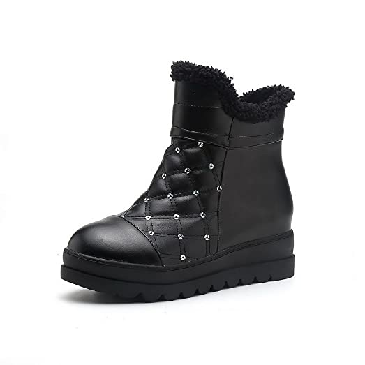 Women's Round Closed Toe Low Heels Soft Material Low Top Solid Boots