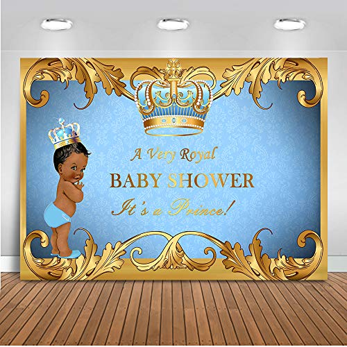 Mocsicka Royal Prince Backdrop 7x5ft Little Prince Baby Shower Photography Background Newborn Baby Black Skin Boy Photo Booth Backdrops ()