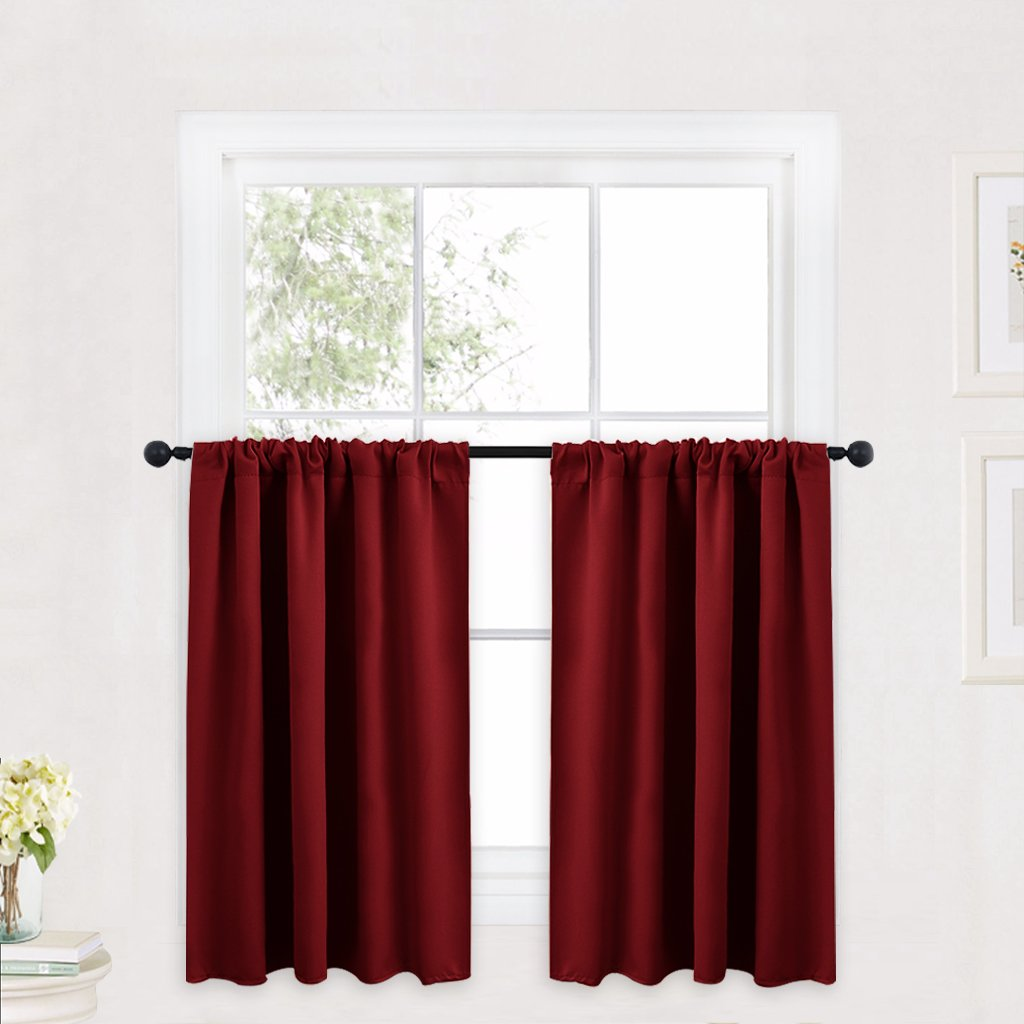 RYB HOME Decor Short Curtains Tiers for Half Window Kitchen Curtains, Insulated Drapes Blackout Curtain Panels for Bedroom/Living Room, 42 x 36 inches Each Panel, Burgundy Red, 2 Panels