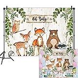 Mehofoto Woodland Baby Shower Backdrop Woodland Animals Photography Background 7x5ft Vinyl Woodland Baby Shower Party Banner Backdrops