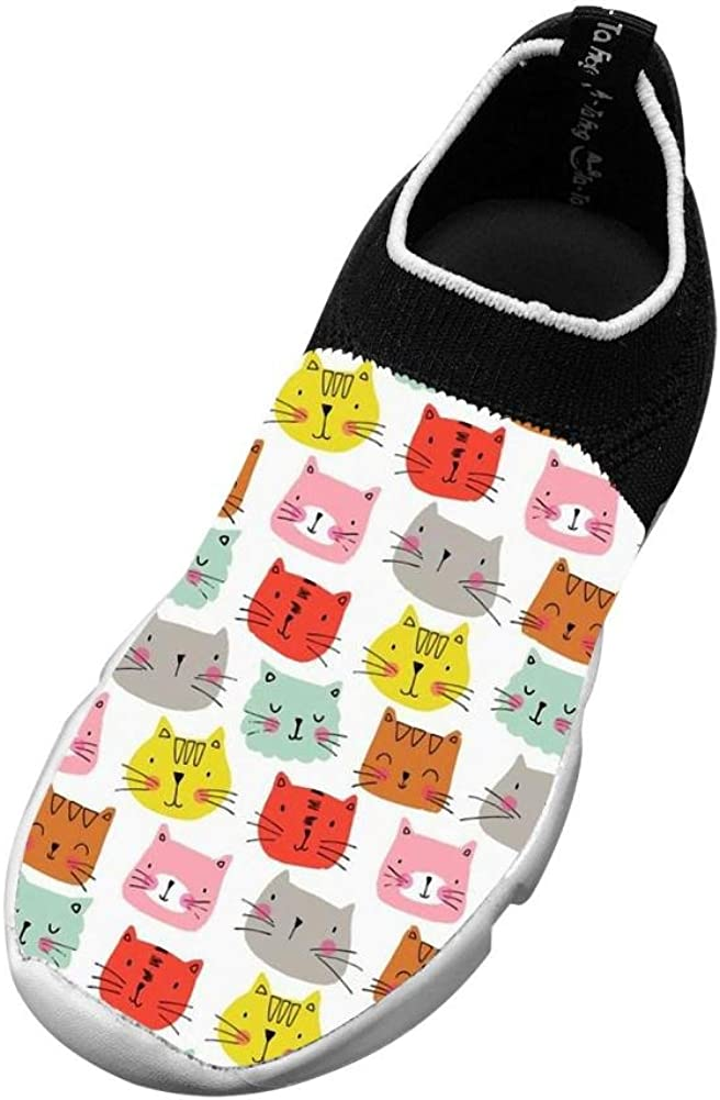 Sports Flywire Weaving Running Shoe For Unisex Kid,Print Cats