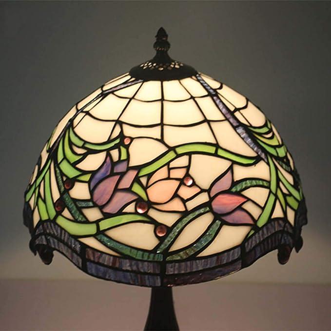 ZHANGJW Lámpara de Mesa Estilo Tiffany, Pantalla de Vidrio ...