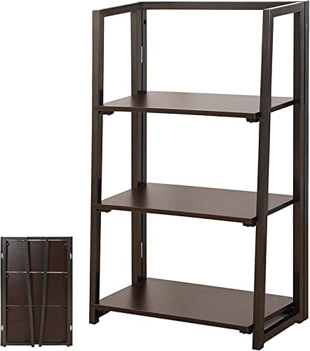 DELMANGO Folding Bookshelf Rack 2-Tier Portable Ladder Shelf No Assemble Industrial Stand Sturdy Organizer for Home Office,23.6 x 11.4 x 28 inches